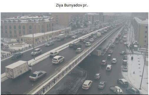 Bakının mərkəzi küçələrində son vəziyyət (FOTO)
