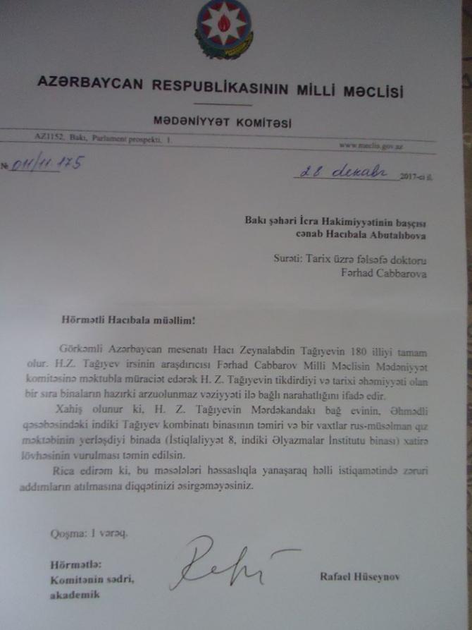 Hacı Zeynalabdin Tağıyevlə bağlı VACİB ADDIM - 3 instansiyaya müraciət edildi