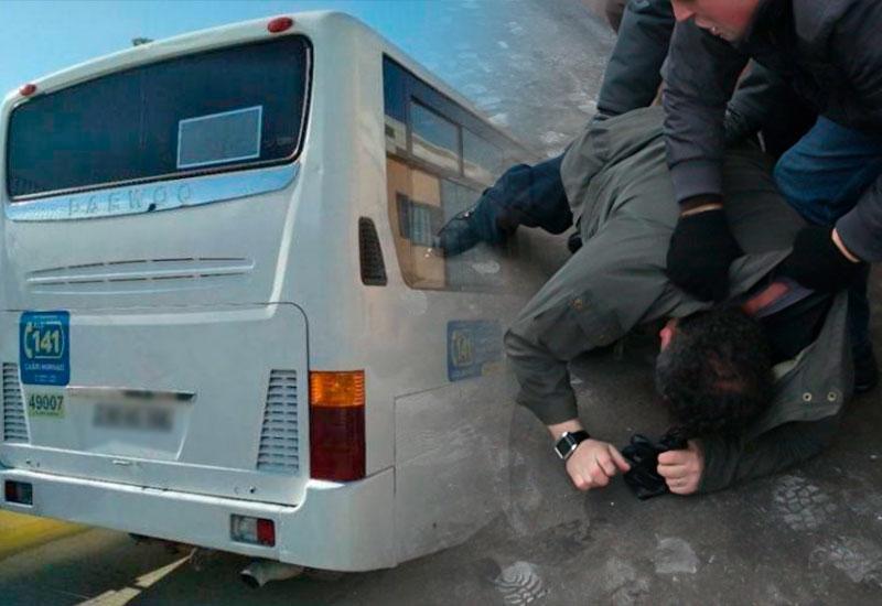 Bakıda avtobusa hücum olub - Sürücü döyüldü