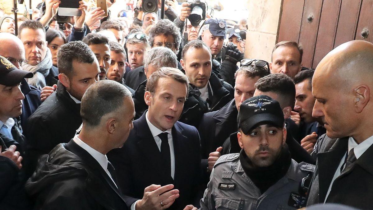 Fransa prezidenti İsrail polisi ilə mübahisə edib - VİDEO