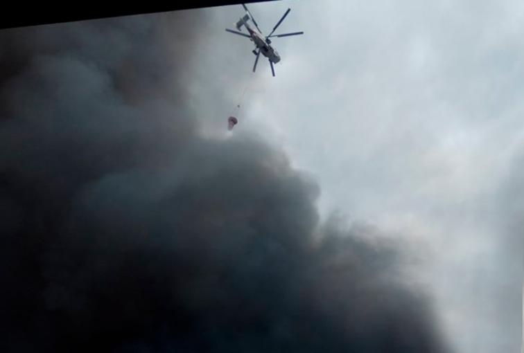 Qubada güclü yanğın başlayıb - Helikopterlər havaya qalxdı