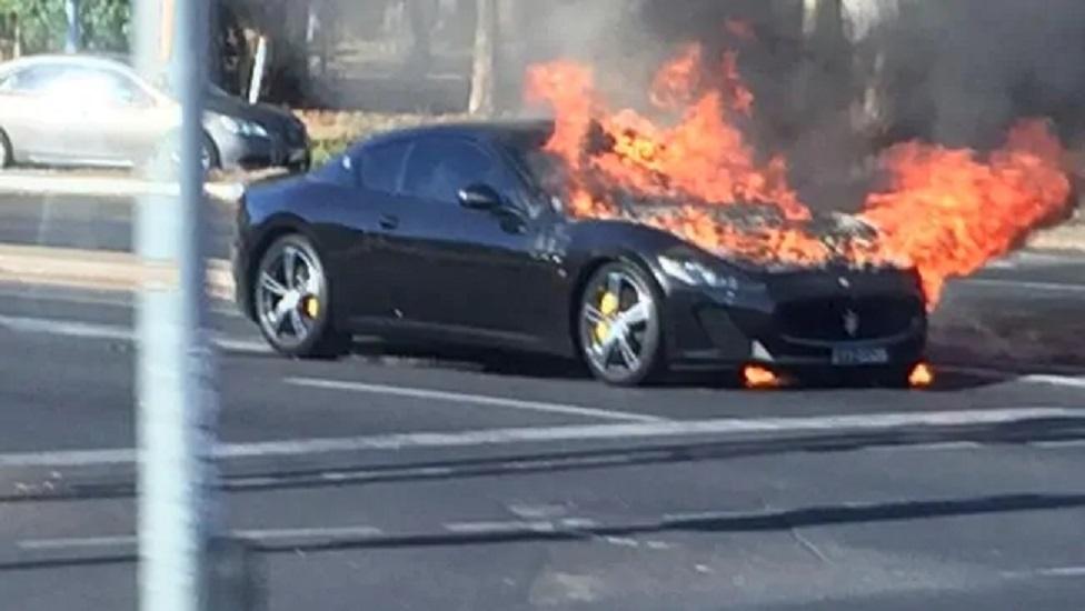 """Bakıda """"Maserati"""" yandı"""