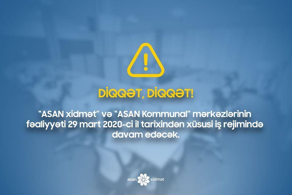 Sabahdan ASAN mərkəzləri xüsusi rejimə keçir