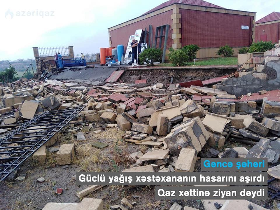 Gəncədə yağış xəstəxananın hasarını uçurdu - FOTO