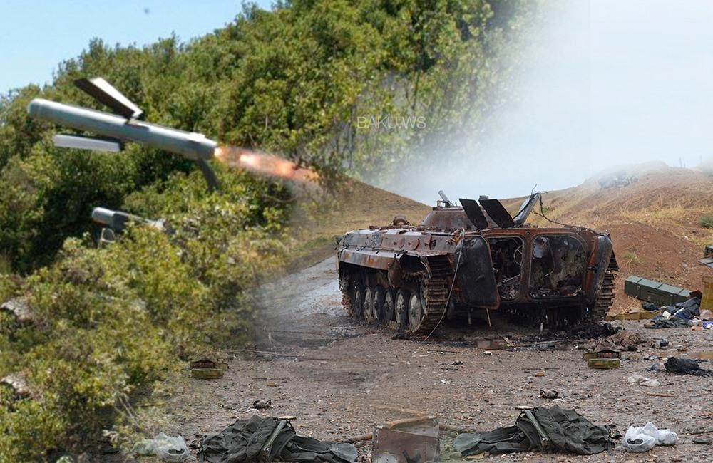 """Erməni tanklarını darmadağın edən """"Spike"""" raketləri -"""